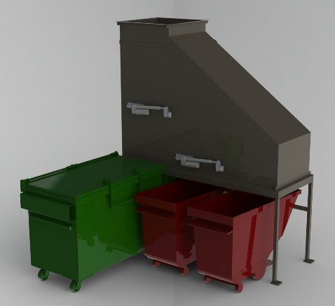 Hi Rise Trash Recycling Combo with Diverter